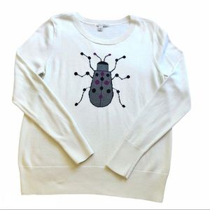Halogen Nordstrom White Beetle Bug Sweater SZ LG